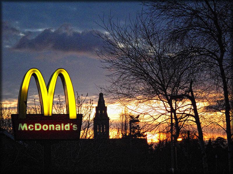 religion,sunset,cityscape,mcdonalds