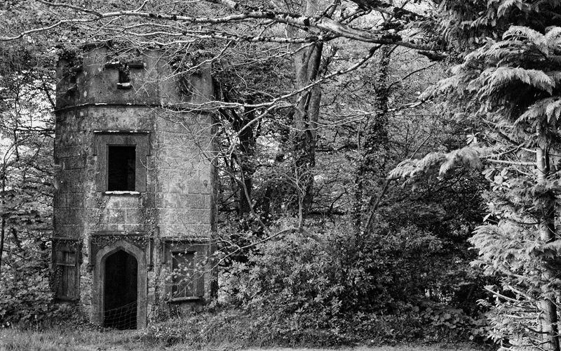 folley,castle,tower in wooded area