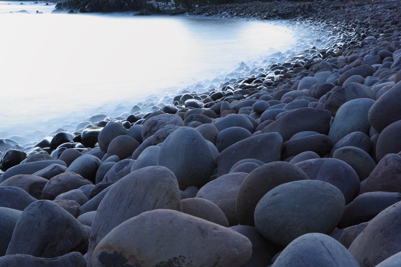 erosion boulders at sunset