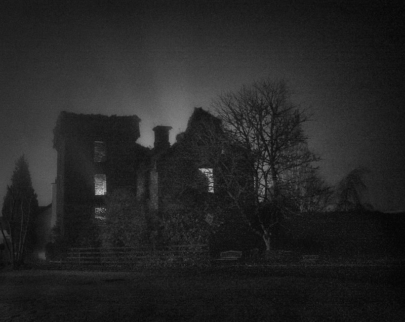 ballyvourney castle  freezing fog winters night