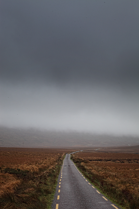 A barren road in the west of Ireland