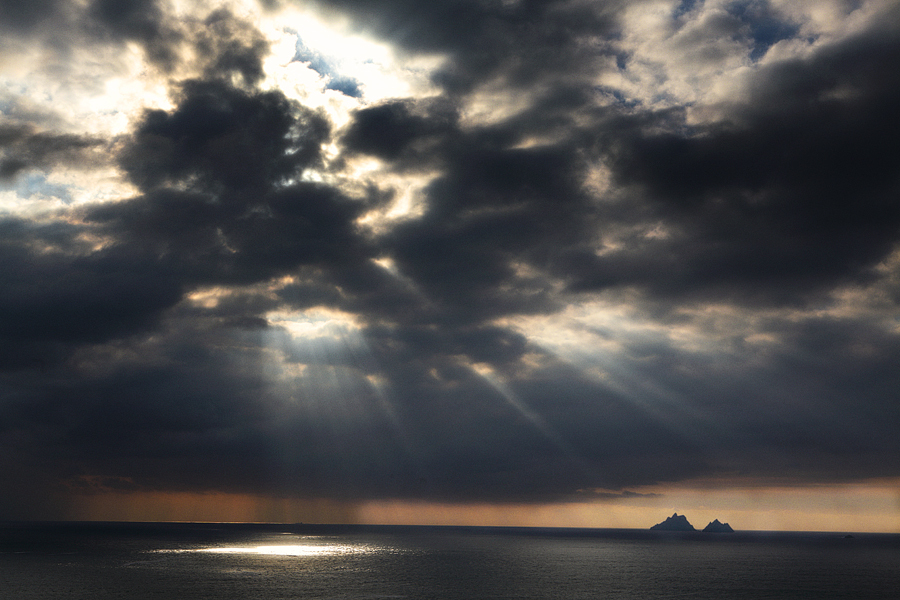 Skellig Rocks with approaching rain storm