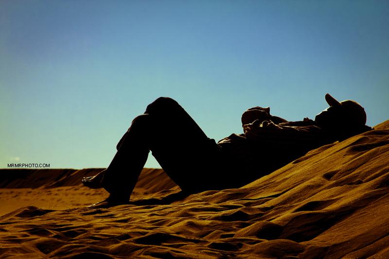 Alseep in the desert