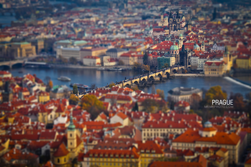Prague in top view