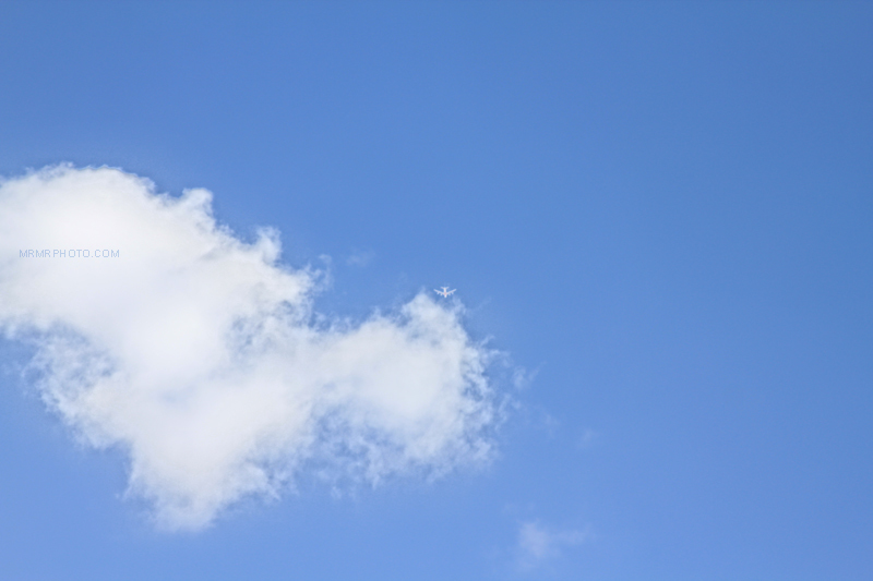 Airplane in blue sky