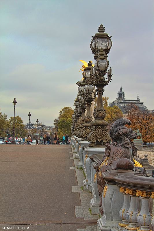 Street lights on Alexander III Bridge, Paris