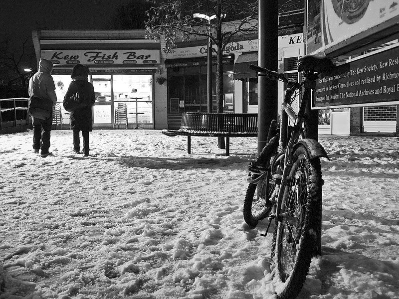 Fish and chips in the snow
