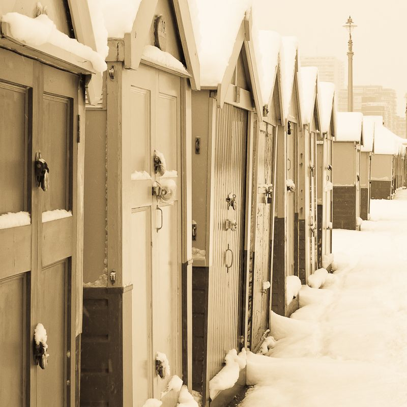 Beach huts in the snow 2