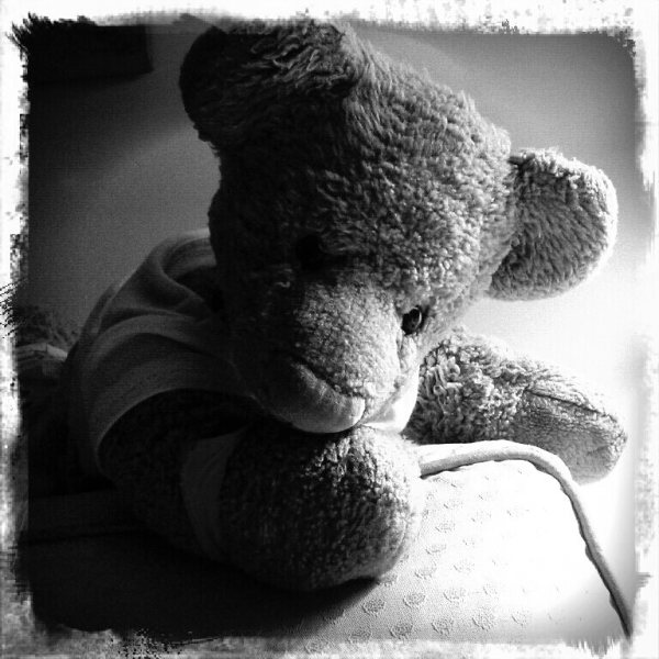 Teddy bear black and white picture a la Harcourt