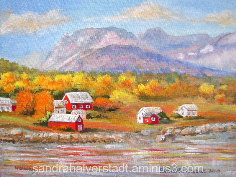 Painting of North of Tromso Norway Photo