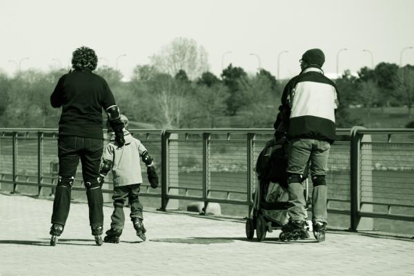 Rollerblading Family