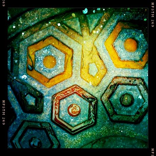 abstract manhole cover iphoneography