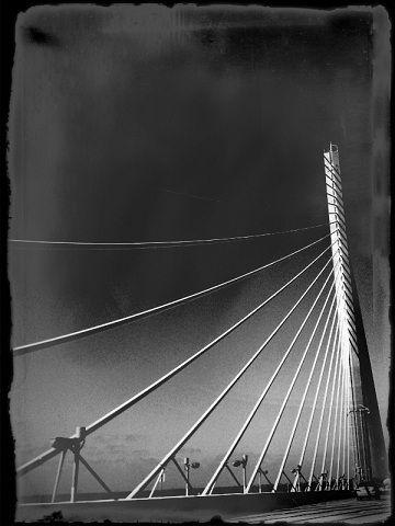 street bridge highway black white