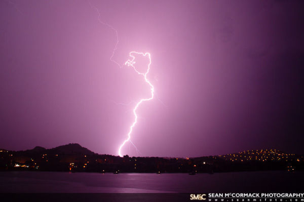 Lighting strike during the season rain, Mallorca