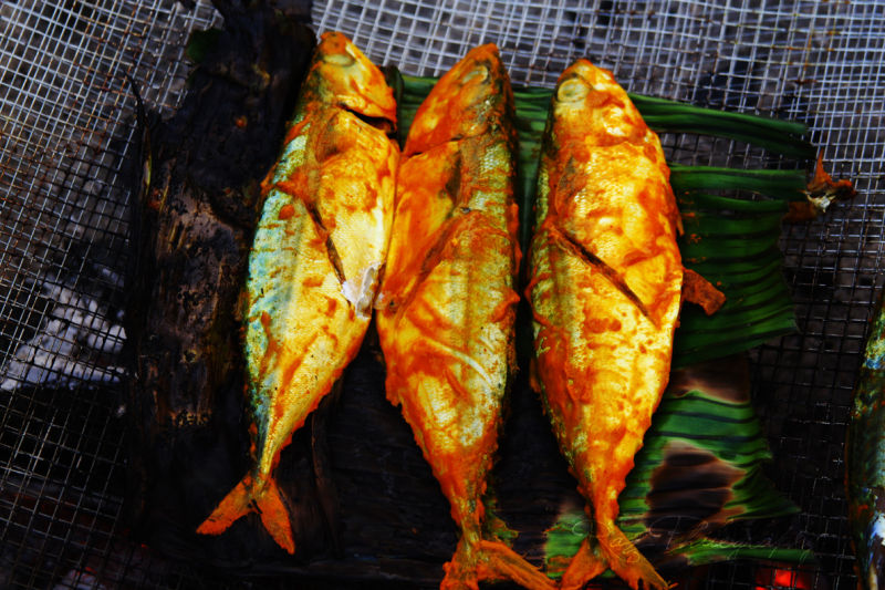 Grilled fishes at a recently attended party