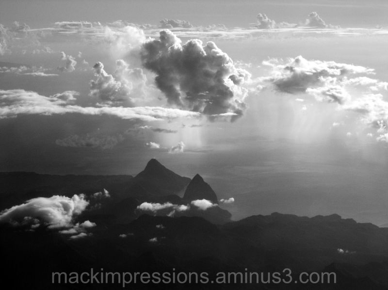 Piton Mountains from the air, St. Lucia