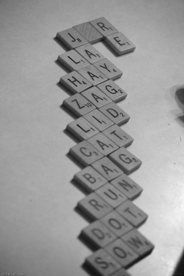 Wooden words on a table