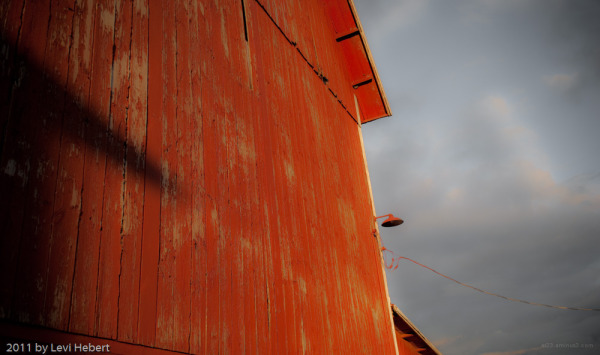 Side of barn in the eveining sun