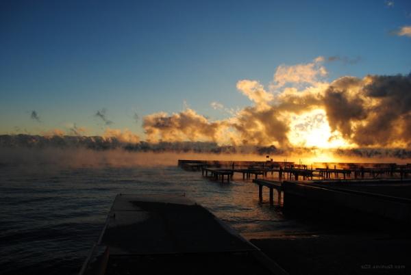 Fog rising off Flathead Lake in Lakeside MT.
