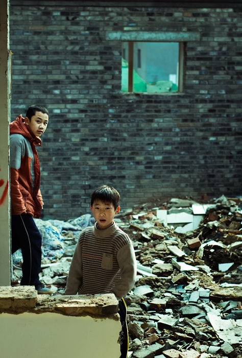 Children are playing in demolished Hutong, Beijing