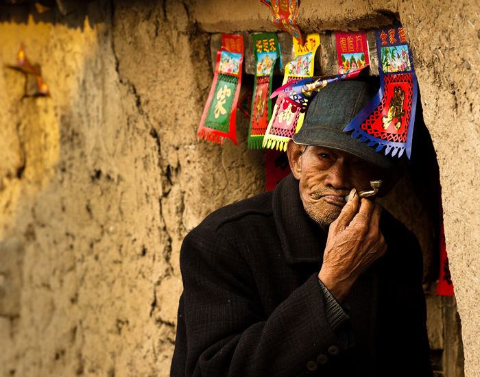 Portrait of the man in Chinese village