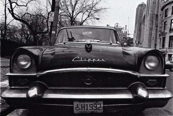 clipper, car vintage b&w new york street
