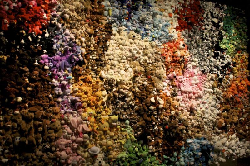 teddy bear, wall, color museum fine art