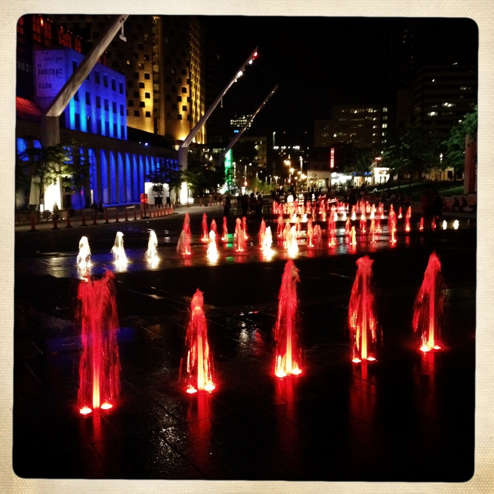 montreal, light, night, fountain, lumiere