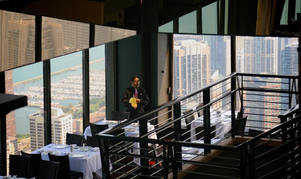 Hancock, Tower, sky rise, restaurant, waiter