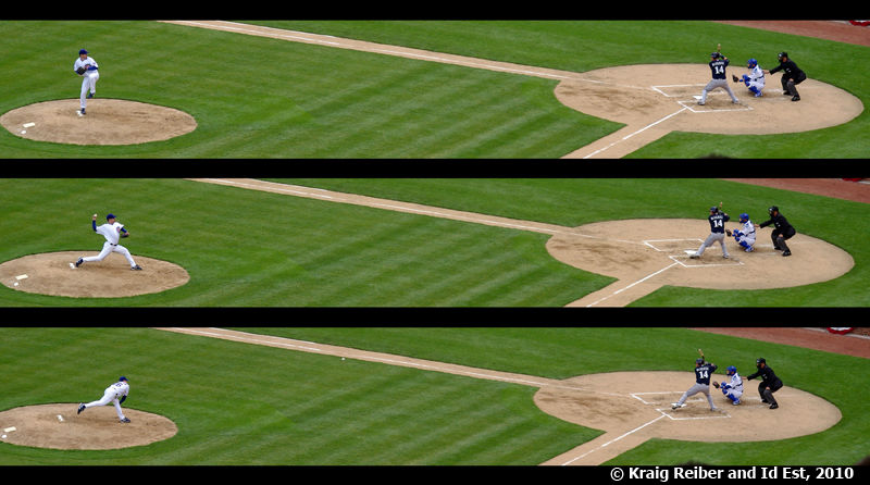 Panorama sequence of a Cubs pitch to a Brewer.