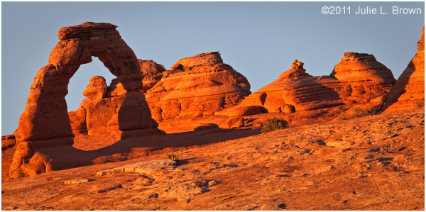 delicate arch in evening light