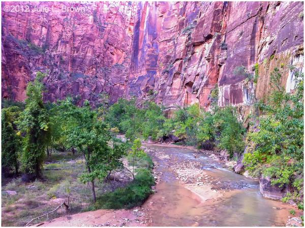 virgin river flowing into Zion canyon
