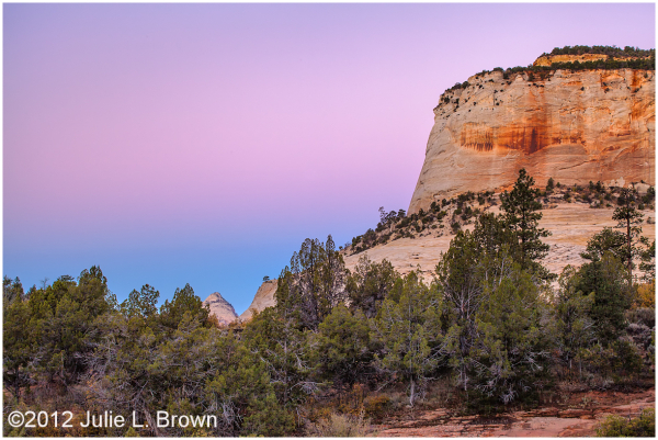 earth's shadow before sunrise zion national park