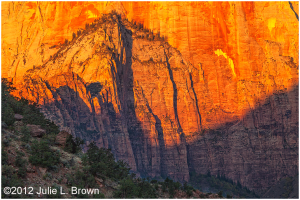 west temple at sunrise zion national park