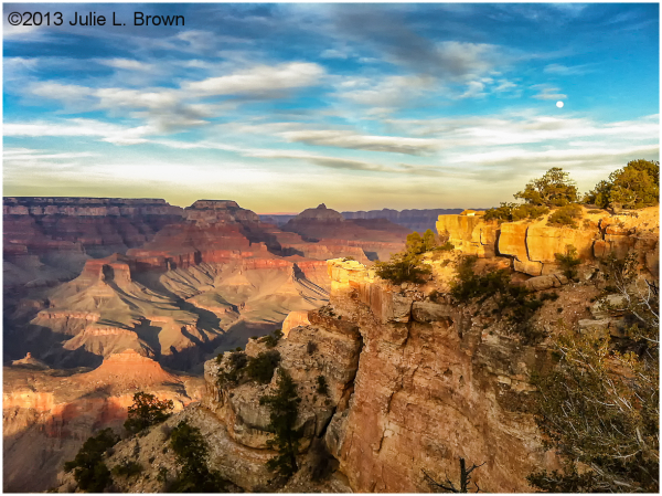 evening light grand canyon with moonrise