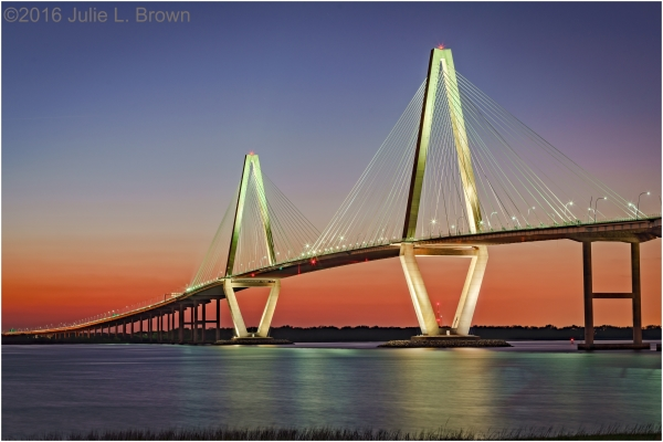Arthur Ravenel Jr. Bridge after sunset