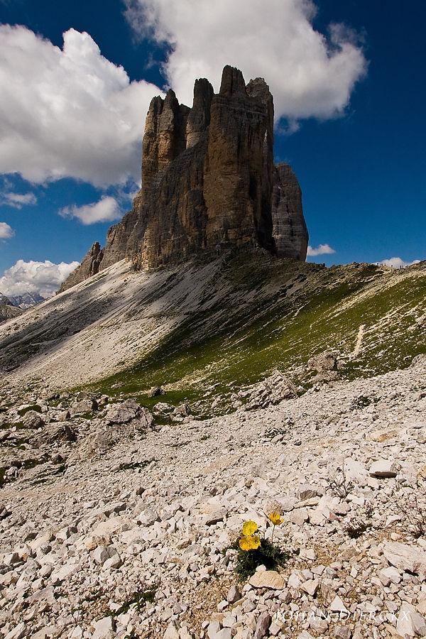 Tre Cime di Lavaredo view from Forcella Lavaredo