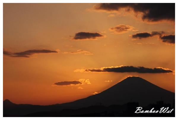 Silhouette of Mount Fuji