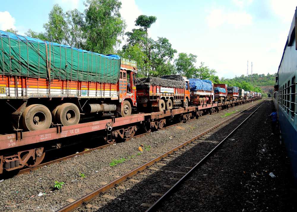 trucks on train