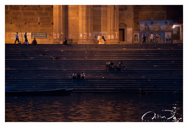 By the steps at dusk