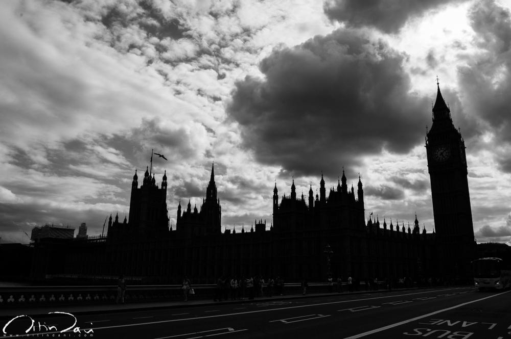 london eye, big ben, westminister, gloomy