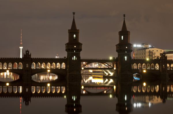 Berlin, Oberbaumbrücke, bridge, night, lights