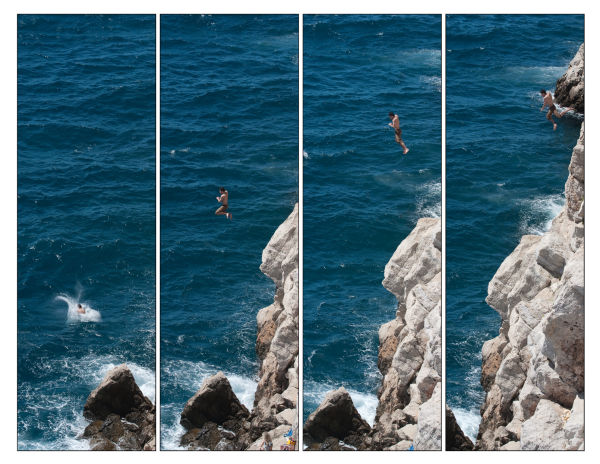 Extreme cliff jumping