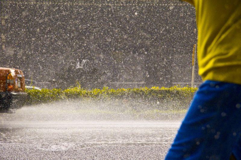 a car splashing in Kyoto
