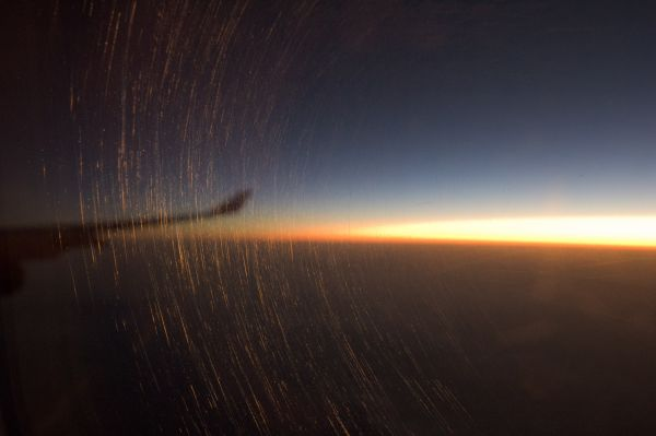 dawn from a flying Airbus