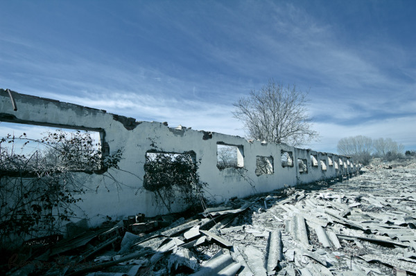 a long destroyed wall