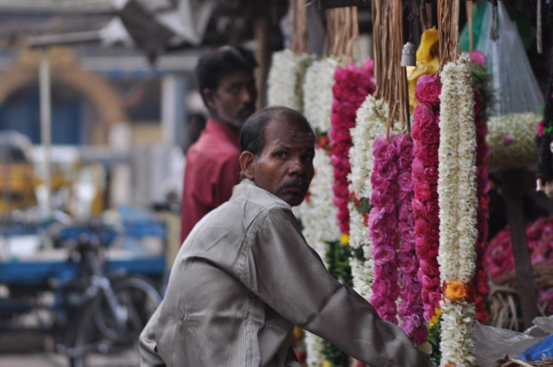 Flower vendor in maada veethi