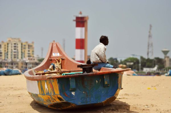 A boat on the sands of Marina..