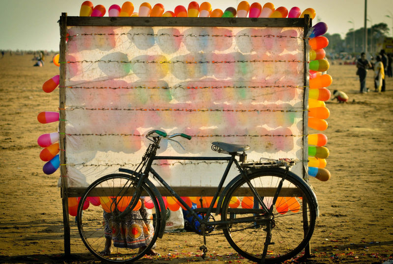 Bicycle behind balloons