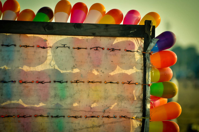 balloons at the beach